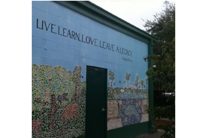 "The mural at English Estates Elementary features a quote from author Stephen Covey  -- ""Live, Learn, Love,  Leave a Legacy"""